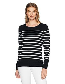 Amazon Essentials Women's Crewneck Sweater, Black/White/Grey