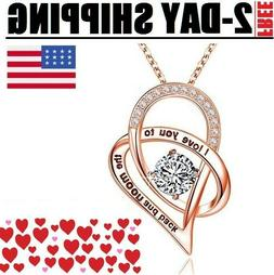Women's Day Gift for Her, Mom Love Heart Crystal Necklaces,