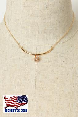 Women's Fashion Jewelry Crystal Round Stone Chain Pendant Ne