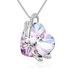 Women's Gift for Her The Crush Purple Heart Pendant Necklace