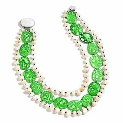Women's Green Shell, Shell Silvertone Statement Necklace for