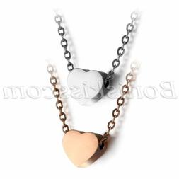 Women's Stainless Steel Love Heart Charm Pendant Necklace 18