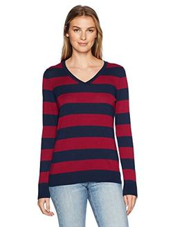 Amazon Essentials Women's V-Neck Stripe Sweater, Navy/Burgun