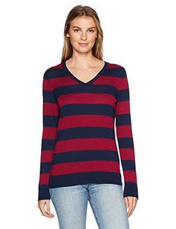 Amazon Essentials Women's V-Neck Stripe Sweater, Navy/Burgun