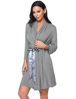 Avidlove Womens 3/4 Sleeves Kimono Bathrobe Solid Comfort Sl