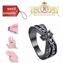 Womens Jewelry Purple CZ Stone Promise Gift Rings Lab For He