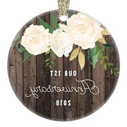 1st Year Anniversary Gifts, First Christmas Married Ornament