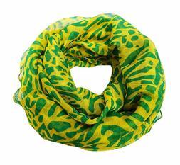 Yellow Printed Scarf Neck Wrap Hijab Women's Fashion Scarves